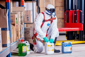 Employee following workplace safety procudures